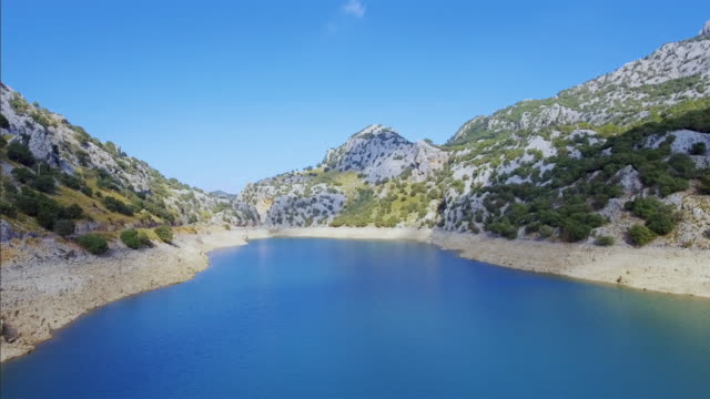 arial view of artificial reservoir gorg blau - serra de tramuntana , majorca - reservoir stock videos and b-roll footage