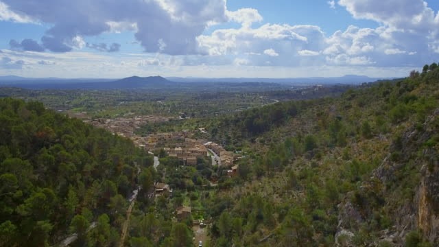 Arial View of Caimari a village near by Selva on the Balearic Island of Majorca by Serra de Tramuntana