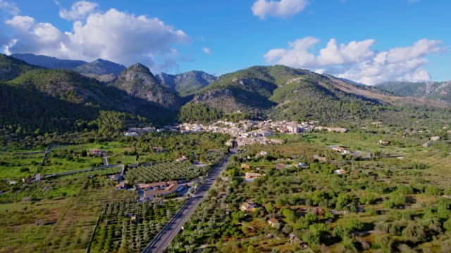 Arial View of Caimari a village on the Balearic Island of Majorca by Sierra de Tramuntana