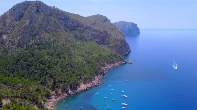 Arial View of Cala de ses Ortigues on west coast near by Andratx on Spanish Balearic island of Majorca / Spain
