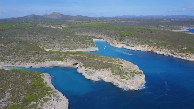 Arial View of Cala Magrana , Cala Pilota and Cala Virgili of east coast on Spanish Balearic island of Majorca / Spain