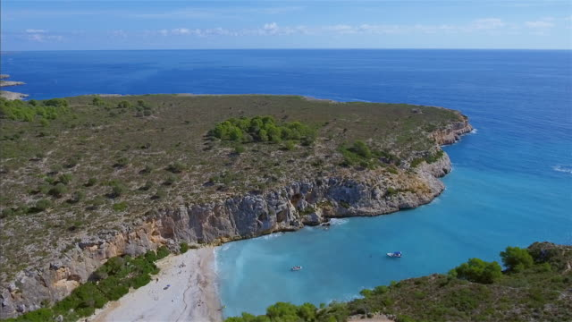 arial view of cala magraner on east coast on spanish balearic island of majorca / spain - balearic islands stock videos and b-roll footage
