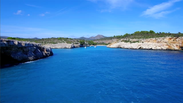 Arial View of Cala Magraner on east coast on Spanish Balearic island of Majorca / Spain