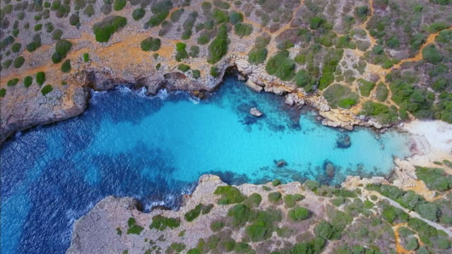 Arial View of Cala Petita on east coast on Spanish Balearic island of Majorca / Spain