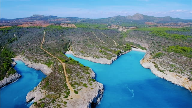 Arial View of cala´s (small bay) - east coast on balearic island of Majorca / Spain