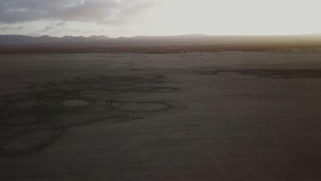 Arial view of dry lake bed and desert