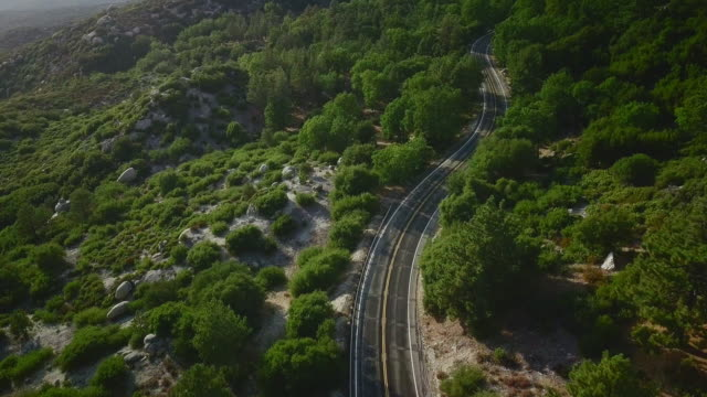 arial view of empty road in a forest mountain area - empty road stock videos & royalty-free footage
