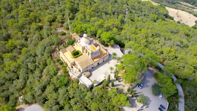 arial view of ermita de nostra senyora de bonany near by vilafranca de bonany , mountain with monastry on majorca / spain - monastery stock videos & royalty-free footage