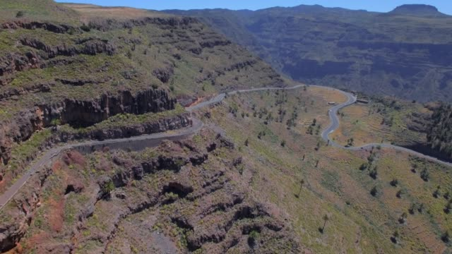 Arial View of Hairpin turns and Mirador César Manrique near by Valle Gran Rey on Canary Islands La Gomera in the province of Santa Cruz de Tenerife - Spain