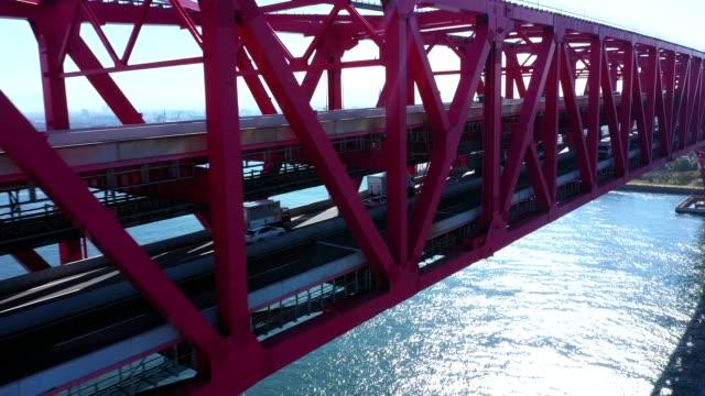 arial view of harbor and bridge - mezzogiorno video stock e b–roll