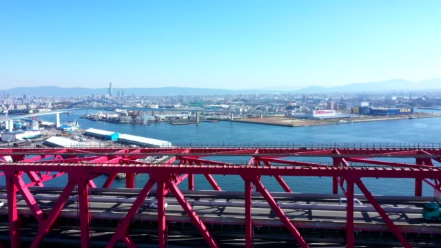 arial view of harbor and bridge - midday stock videos & royalty-free footage