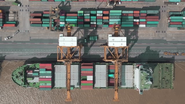 Arial View of industrial port with containers.