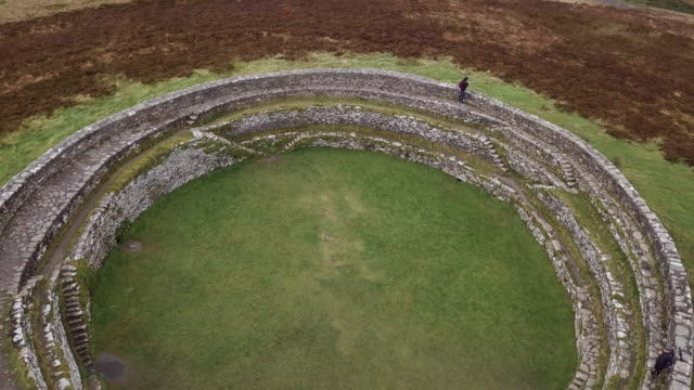 Arial view of Ireland's Grianan of Aileach during the Autumn of 2017.