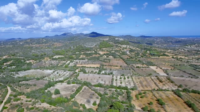 Arial View of Majorca coastal plain near by Santuario de la Consolacion - Alqueria Blanca - Santanyí / Balearic Islands, Spain
