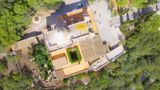 arial view (directly above) of monastry ermita de nostra senyora de bonany near by vilafranca de bonany on majorca / spain - monastery stock videos & royalty-free footage