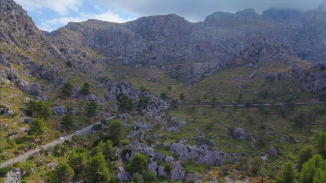 Arial View of mountain range near by Sa Calobra - Serra de Tramuntana / Majorca - Spain