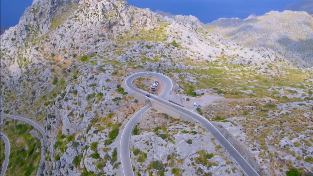 Arial View of mountain range with Hairpin turn near by Sa Calobra - Serra de Tramuntana / Majorca - Spain