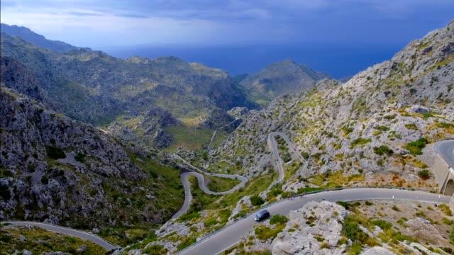 Arial View of mountain range with Hairpin turn near by Sa Calobra - Serra de Tramuntana / Majorca - Spain