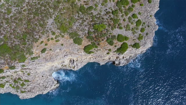 Arial View of rocky costline and bay on Spanish Balearic island of Majorca / Spain
