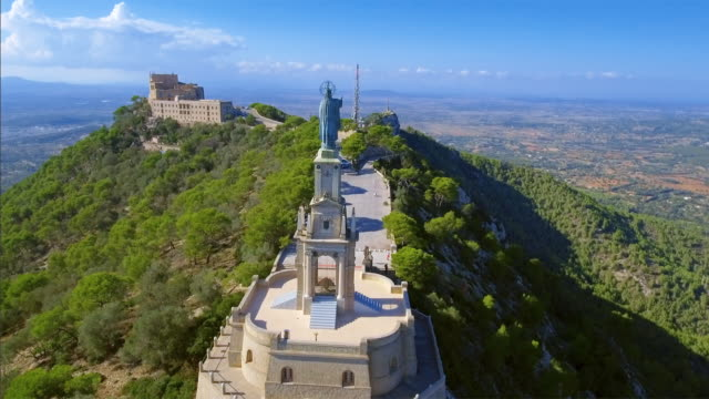 arial view of santuari de sant salvador monastery and christ the king monument - majorca / spain - monastery stock videos & royalty-free footage