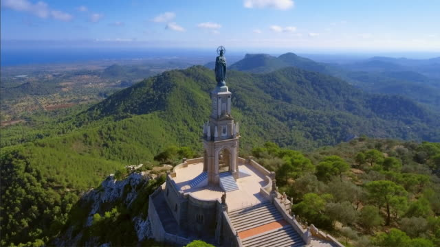 Arial View of Santuari de Sant Salvador monastery and Christ the King monument - Majorca / Spain