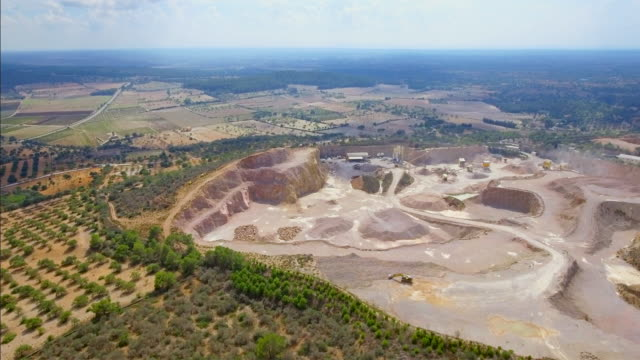 arial view of stone quarry on majorca near by porreres / balearic islands, spain - slate rock stock videos and b-roll footage