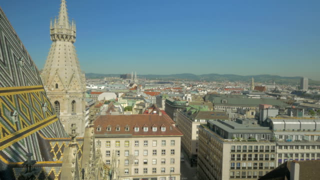 Arial view of Vienna from Stephansdon Church viewing platform.Pan down to Stephansplatz.
