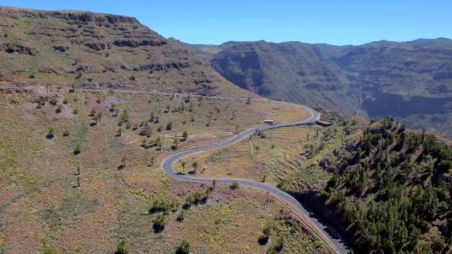 Arial View of winding road near by Valle Gran Rey on Canary Islands La Gomera in the province of Santa Cruz de Tenerife - Spain