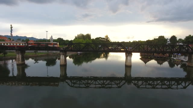 arial view : river kwai bridge - stainless steel stock videos & royalty-free footage
