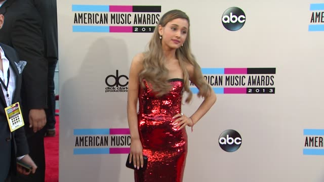 ariana grande arrives at the 2013 american music awards arrivals - ariana grande stock videos & royalty-free footage