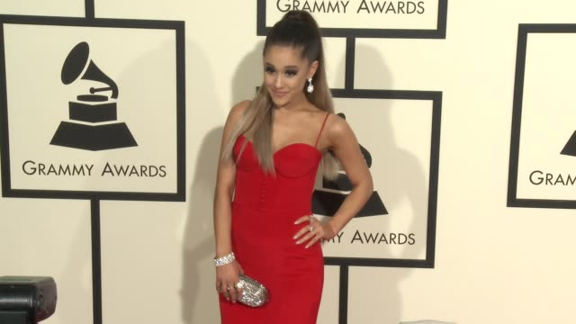 ariana grande at the 58th annual grammy awards® arrivals at staples center on february 15 2016 in los angeles california - grammys stock videos & royalty-free footage