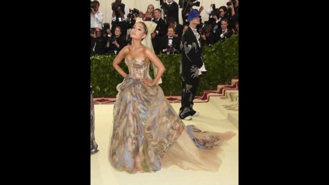 ariana grande attends the heavenly bodies fashion the catholic imagination costume institute gala at the metropolitan museum of art on may 7 2018 in... - ariana grande stock videos & royalty-free footage