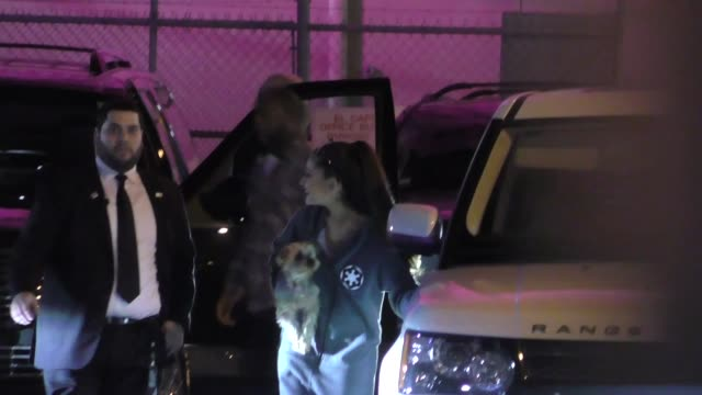 ariana grande gets mobbed by fans while leaving jimmy kimmel live in hollywood in celebrity sightings in los angeles - jimmy kimmel stock videos and b-roll footage