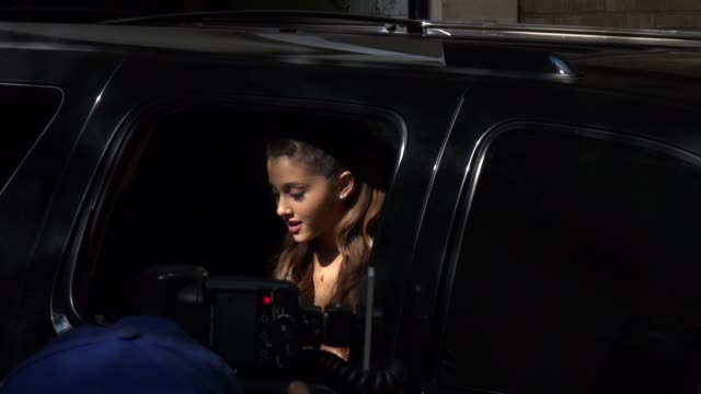 ariana grande gets out of her car to greet her fans outside the live with kelly michael show in new york ny on 9/05/13 - ariana grande stock videos & royalty-free footage