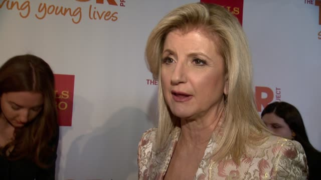 interview arianna huffington speaks about how trevor project means a lot to her and helps tens of thousands of young people by giving them a voice... - the trevor project stock videos and b-roll footage