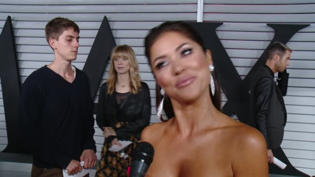 interview arianny celeste on her outfit and on being part of the hot 100 list at the maxim hot 100 and relaunch party at pacific design center on... - pacific design center stock videos and b-roll footage