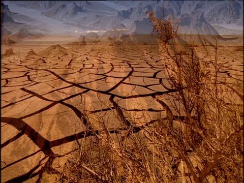 Arid desert scenes including mountain peaks cracked desert ground rock art and snow peaked mountains Chile