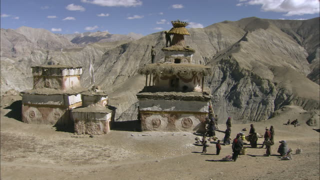 ws arid mountain peaks and valleys / high himalayas, upper dolpo near tibetan border, nepal     - traditionally tibetan stock videos & royalty-free footage