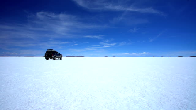 arid salt flats journey in 4x4 vehicle adventure - bolivia stock videos & royalty-free footage