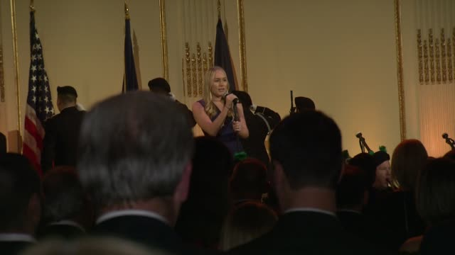 ariel kendall and nypd pipes and drums perform at ambassador ronald s. lauder receives lifetime achievement award at the federal enforcement homeland... - 生涯功労賞点の映像素材/bロール