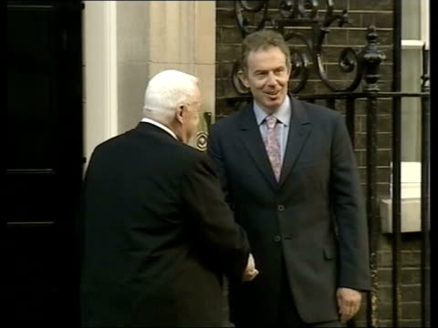ariel sharon backgrounder 1472003 london downing street ariel sharon shaking hands with prime minister tony blair - ariel sharon stock videos and b-roll footage