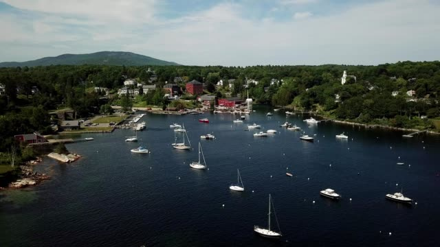 ariel view of boats docked in rockport harbor, maine - rockport maine stock videos & royalty-free footage