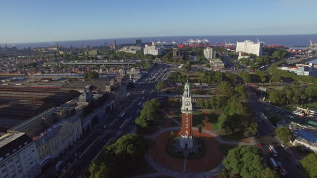 Ariel view of clock tower at train station in Buenos Aires Argentina