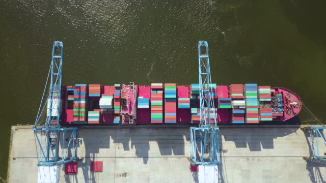 ariel view of commercial container port. - malaysia stock videos & royalty-free footage