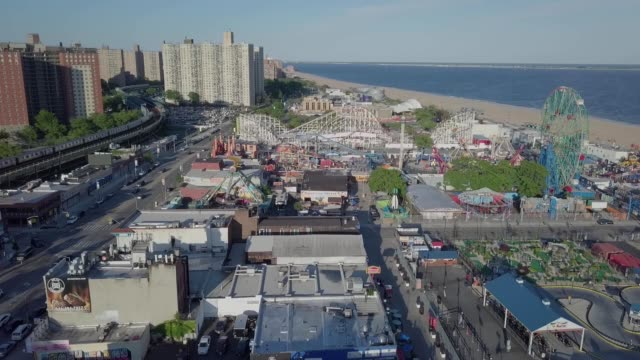 ariel view of coney island, brooklyn, new york - coney island brooklyn stock videos & royalty-free footage