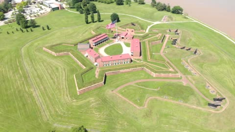 ariel view of fort mchenry in baltimore maryland - fortress stock videos & royalty-free footage