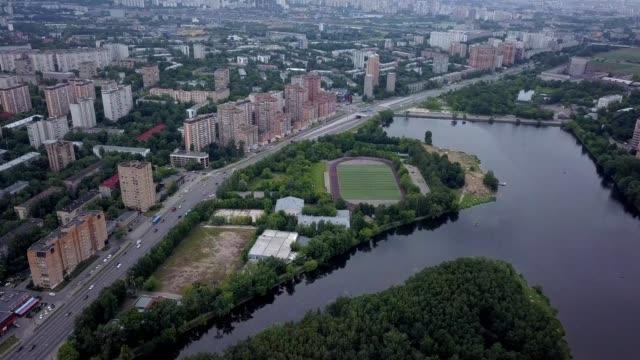 vídeos de stock e filmes b-roll de ariel view of moscow, russia - moscow russia