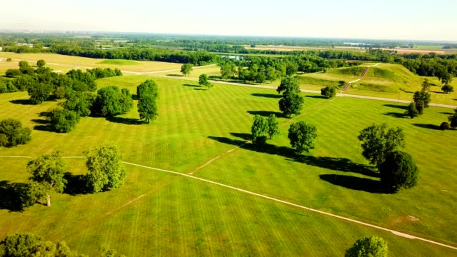 ariel view of open field and small trees in collinsville illinois - heap stock videos & royalty-free footage