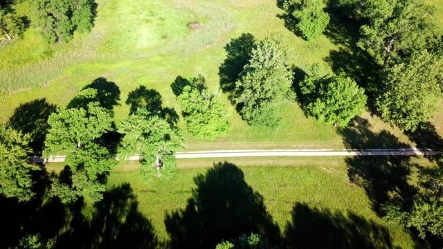 vídeos y material grabado en eventos de stock de ariel view of the woods at the cahokia mounds collinsville, illinois - illinois