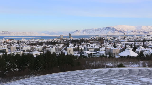 ariel view over reykjavik city, iceland, - reykjavik stock videos and b-roll footage